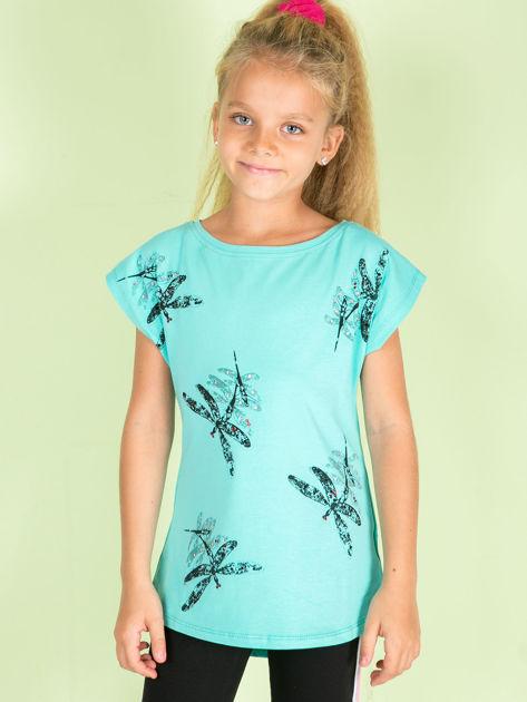 Miętowa tunika dziewczęca z nadrukiem ważek i diamencikami