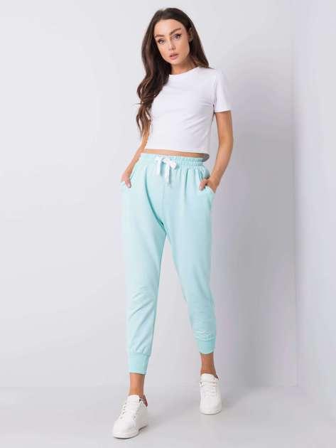 Miętowe spodnie dresowe Giulianna