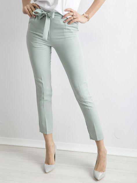 Miętowe spodnie z wiązaniem                               zdj.                              1