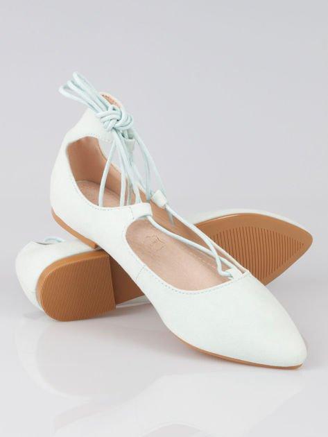 Miętowe wiązane baleriny faux suede Kim lace up z zamszu                                  zdj.                                  4