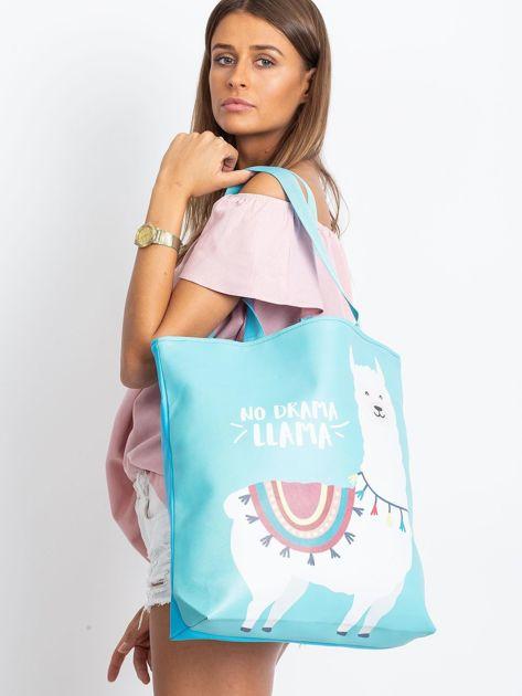 Miętowo-niebieska torba z nadrukiem                              zdj.                              4