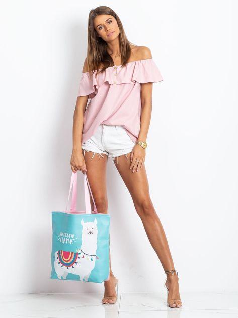 Miętowo-różowa torba z nadrukiem                              zdj.                              7