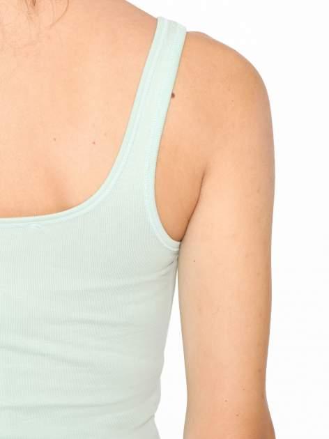 Miętowy gładki top na szerokich ramiączkach                                  zdj.                                  5