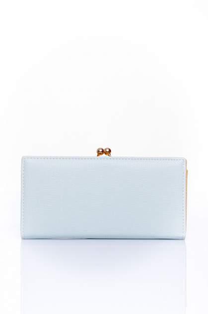 Miętowy portfel z biglem efekt saffiano