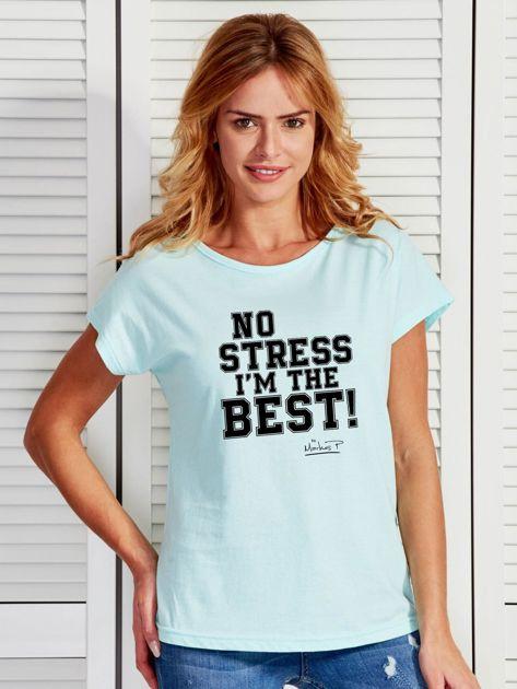 Miętowy t-shirt damski I'M THE BEST! by Markus P                              zdj.                              1