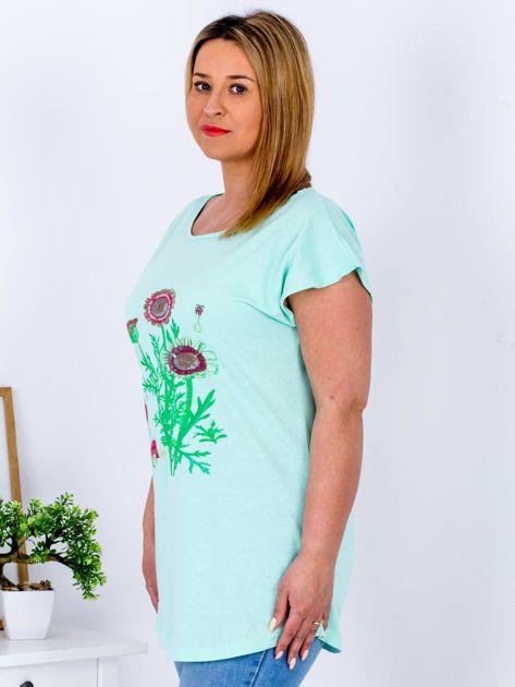 Miętowy t-shirt z kwiatowym printem PLUS SIZE                              zdj.                              5