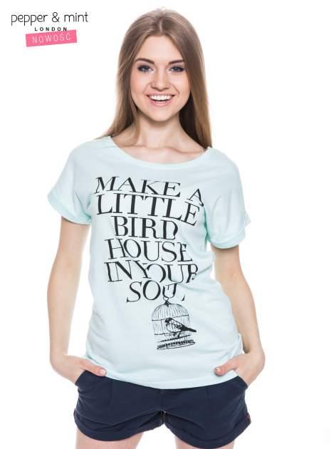 Miętowy t-shirt z nadrukiem ptaszka w klatce                                  zdj.                                  2