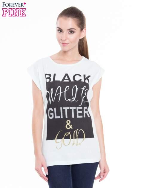 Miętowy t-shirt z nadrukiem tekstowym z efektem glitter
