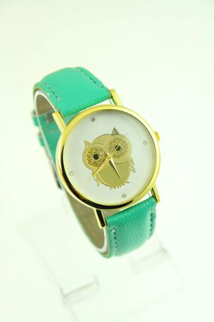 Miętowy zegarek damski z sową na skórzanym pasku