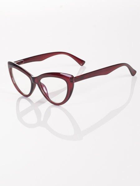Modne okulary zerówki KOCIE OCZY w stylu Marlin Monroe- soczewki ANTYREFLEKS+system FLEX na zausznikach                              zdj.                              4