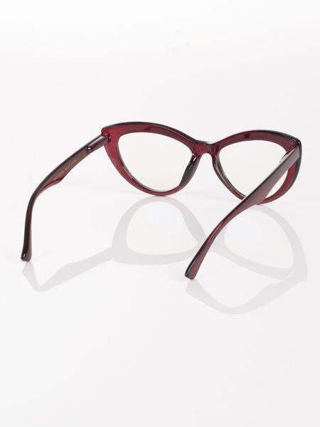 Modne okulary zerówki KOCIE OCZY w stylu Marlin Monroe- soczewki ANTYREFLEKS+system FLEX na zausznikach                              zdj.                              3