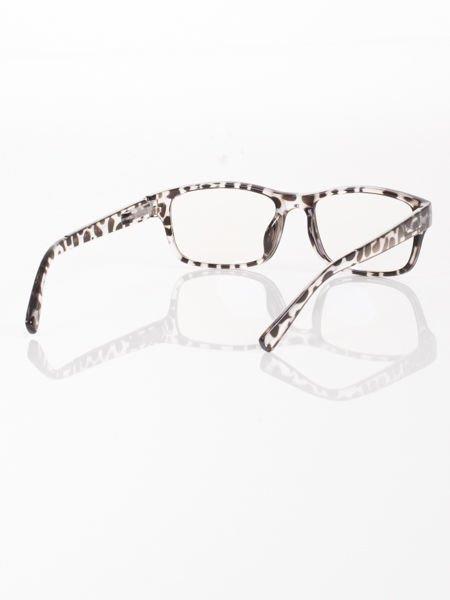 Modne okulary zerówki leopard KUJONKI NERDY; soczewki ANTYREFLEKS+system FLEX na zausznikach                              zdj.                              3