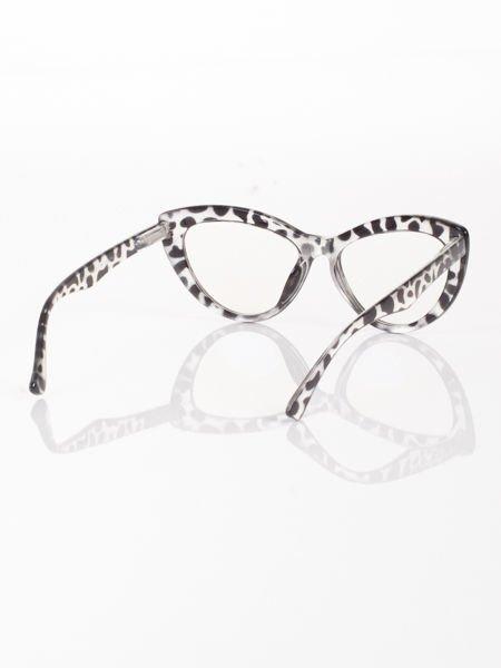 Modne okulary zerówki leopard typu KOCIE OCZY w stylu Marlin Monroe;soczewki ANTYREFLEKS+system FLEX na zausznikach                              zdj.                              2