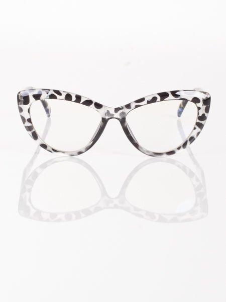 Modne okulary zerówki typu KOCIE OCZY w stylu Marlin Monroe;soczewki ANTYREFLEKS+system FLEX na zausznikach                                  zdj.                                  3