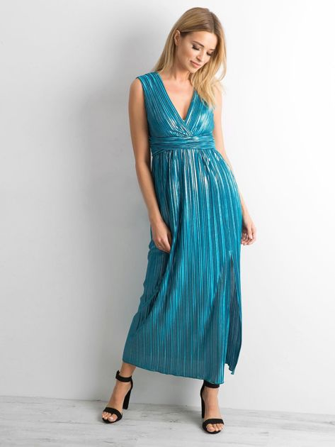 Morska plisowana sukienka maxi                              zdj.                              4