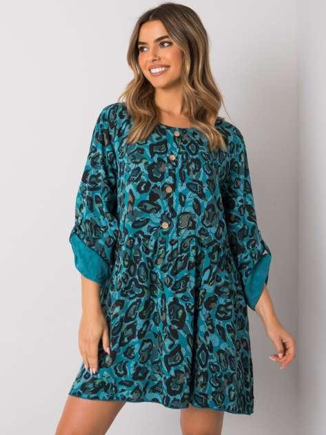 Morska sukienka z wiskozy Earlene