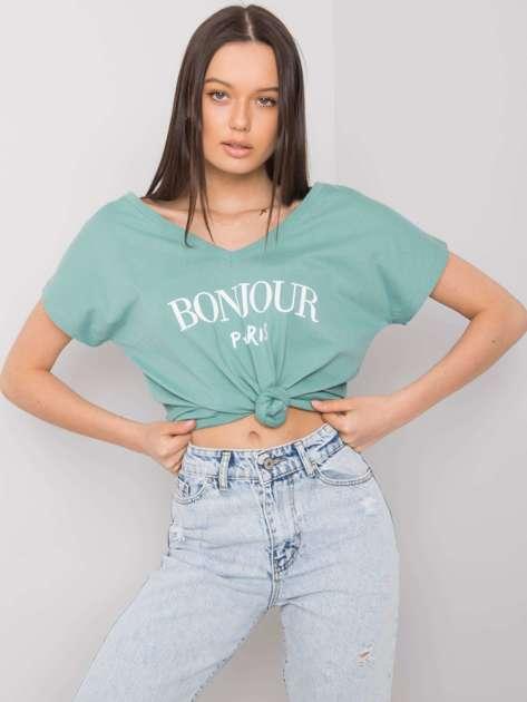 Morski t-shirt z nadrukiem Hortense