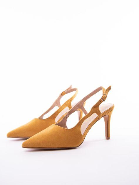 Musztardowe sandały Sabatina z noskiem w szpic bez pięty                              zdj.                              3
