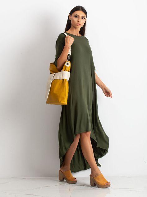 Musztardowo-beżowa torba ze skóry ekologicznej                              zdj.                              4