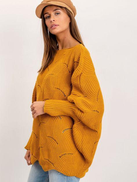 Musztardowy sweter Poncho                              zdj.                              3