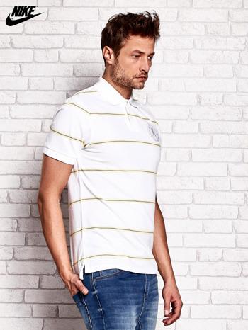 NIKE Biała koszulka polo męska w paski                                  zdj.                                  2