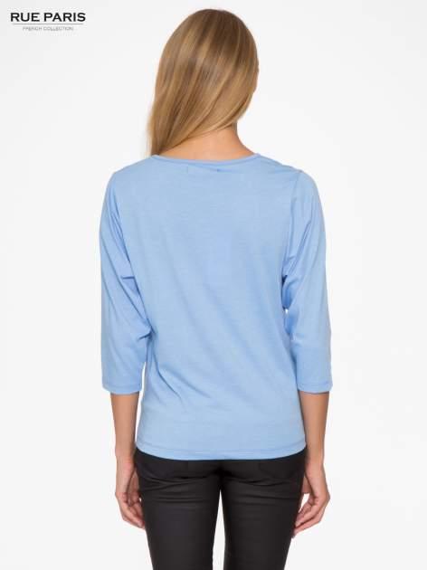 Niebieska basicowa bluzka z rękawem 3/4                                  zdj.                                  4