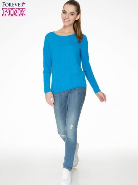 Niebieska bawełniana bluzka z gumką na dole                                  zdj.                                  2