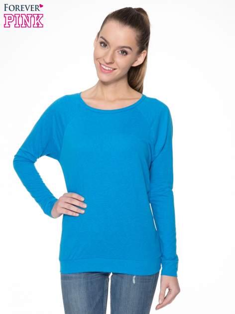 Niebieska bawełniana bluzka z rękawami typu reglan                                  zdj.                                  1