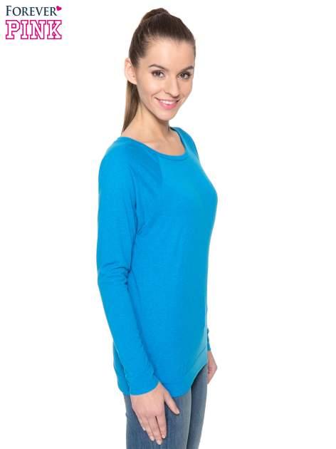 Niebieska bawełniana bluzka z rękawami typu reglan                                  zdj.                                  5
