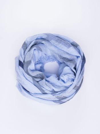 Niebieska bawełniana chustka z frędzelkami                                  zdj.                                  1