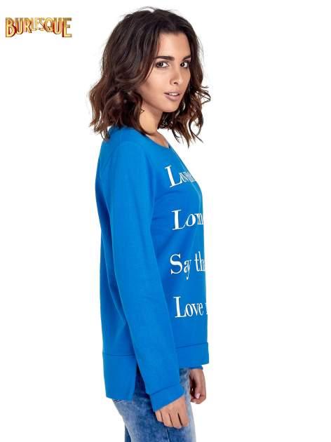 Niebieska bluza z napisem LOVE ME i dłuższym tyłem                                  zdj.                                  3