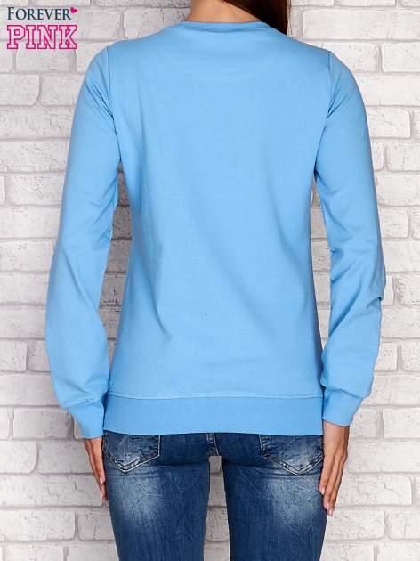 Niebieska bluza z napisem NO LIMITS                                  zdj.                                  4