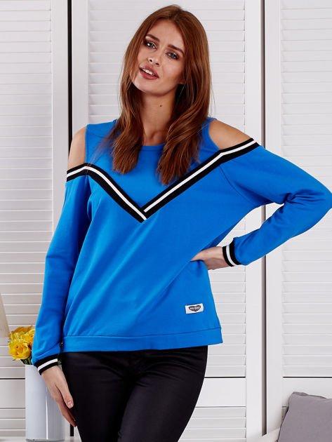 Niebieska bluza z ukośnymi ściągaczami                              zdj.                              1
