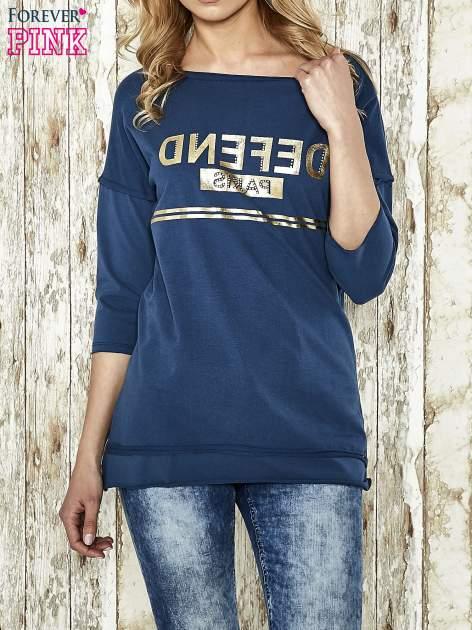 Niebieska bluza ze złotym napisem i suwakiem                                  zdj.                                  1