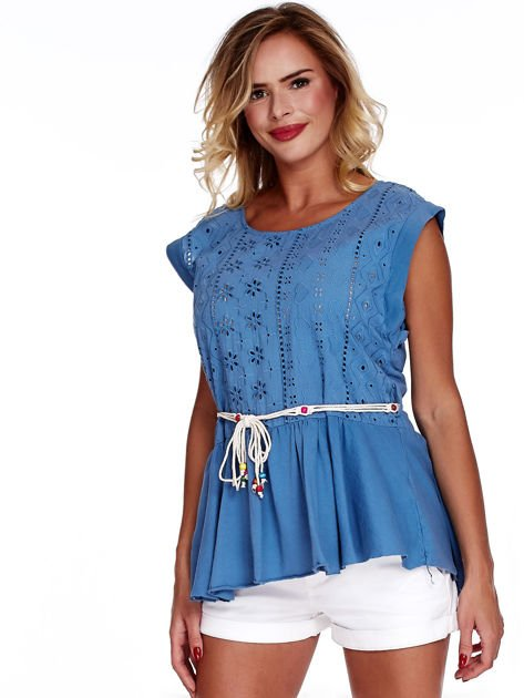Niebieska bluzka boho z ozdobnym paskiem                              zdj.                              1