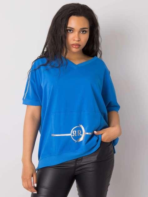 Niebieska bluzka plus size z kieszenią Suzannah