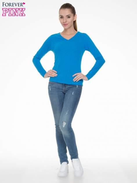 Niebieska bluzka z długim rękawem z bawełny                                  zdj.                                  2