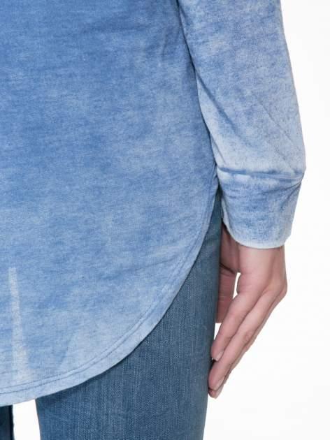 Niebieska bluzka z nadrukiem I LOVE BSL i efektem sprania                                  zdj.                                  8