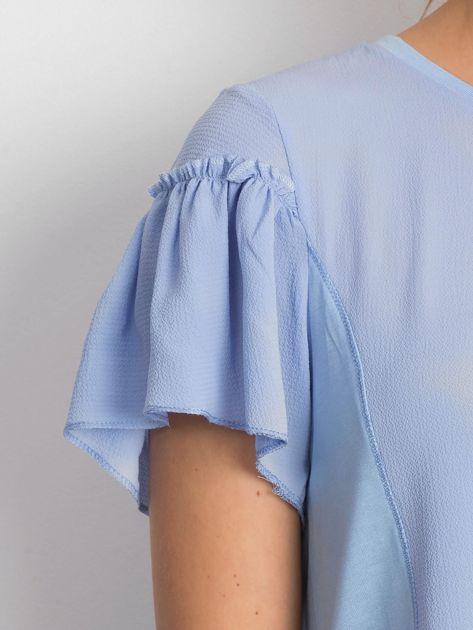 Niebieska bluzka z szerokimi rękawami                              zdj.                              5