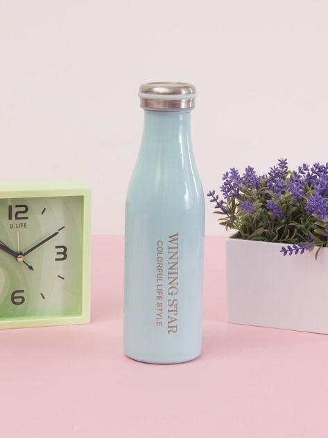 Niebieska butelka termos z zakrętką                               zdj.                              5