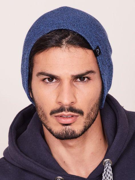 Niebieska czapka męska beanie                               zdj.                              1