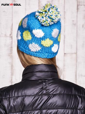 Niebieska czapka w kolorowe grochy z pomponem FUNK N SOUL                                  zdj.                                  3