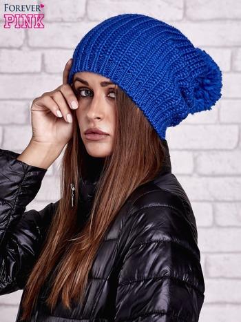 Niebieska czapka z dużym pomponem                                  zdj.                                  2