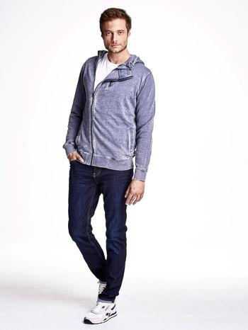 Niebieska dekatyzowana bluza męska z asymetrycznymi suwakami                                  zdj.                                  4