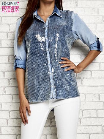 Niebieska denimowa koszula z cekinami                                  zdj.                                  1