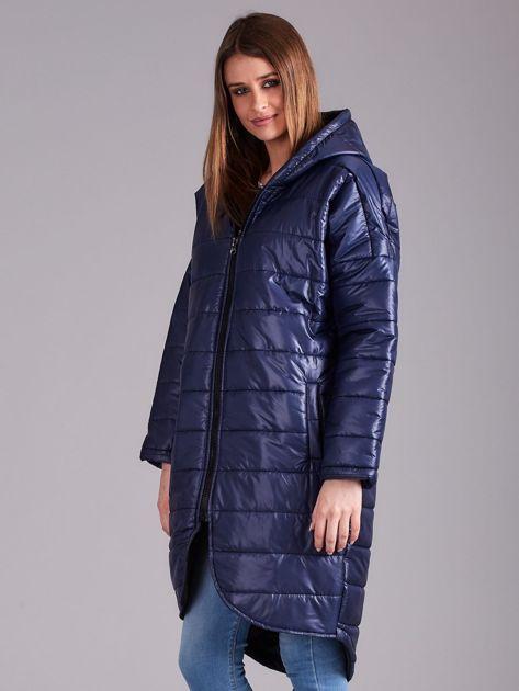 Niebieska długa kurtka przejściowa                              zdj.                              3
