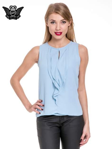 Niebieska elegancka koszula z żabotem                                  zdj.                                  1