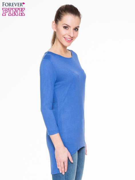Niebieska gładka bluzka z dłuższym tyłem                                  zdj.                                  3