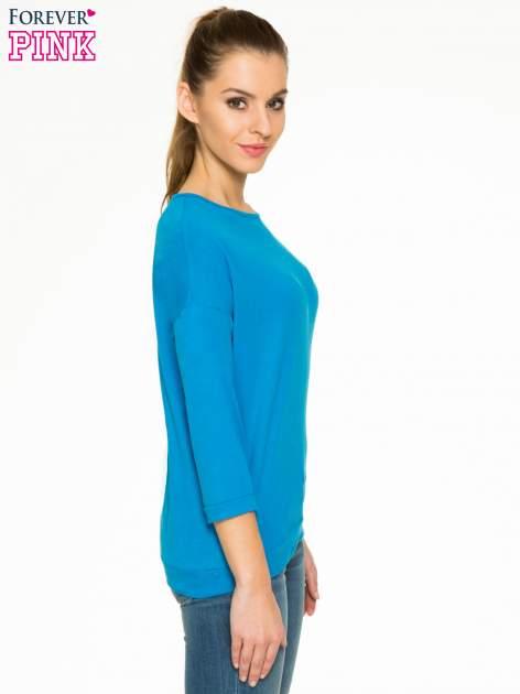 Niebieska gładka bluzka z luźnymi rękawami 3/4                                  zdj.                                  3