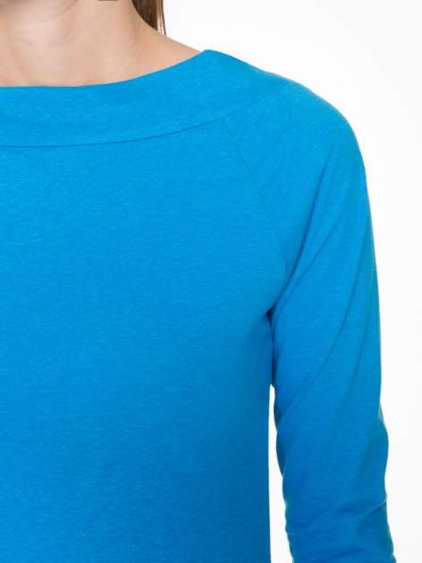 Niebieska gładka bluzka z reglanowymi rękawami                                  zdj.                                  5